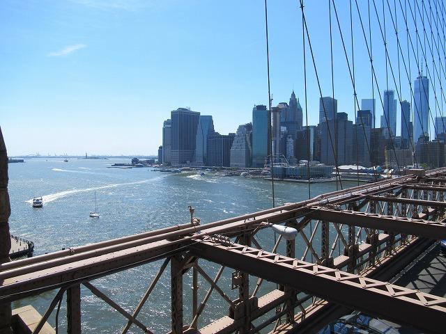 ブルックリンブリッジの歩道からの眺め