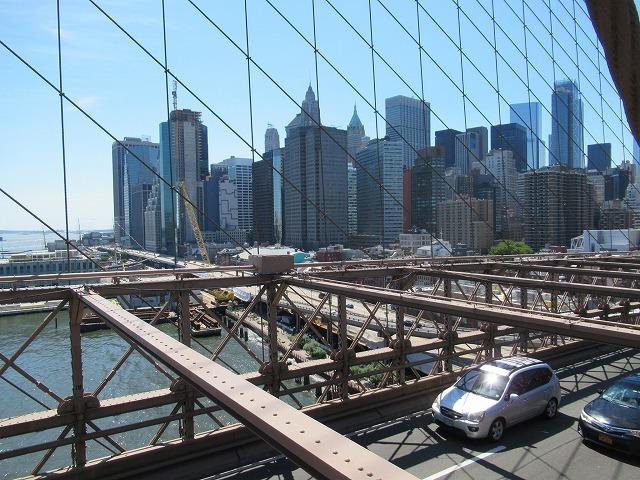 ブルックリンブリッジから眺めるマンハッタン
