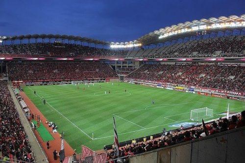 カシマスタジアムでのサッカーゲーム風景