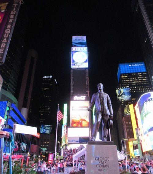 ネオンがまばゆい夜のタイムズスクエア