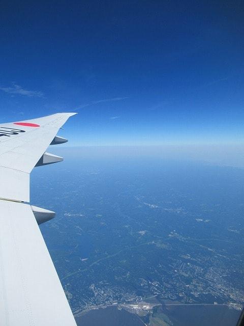 飛行機から見える景色